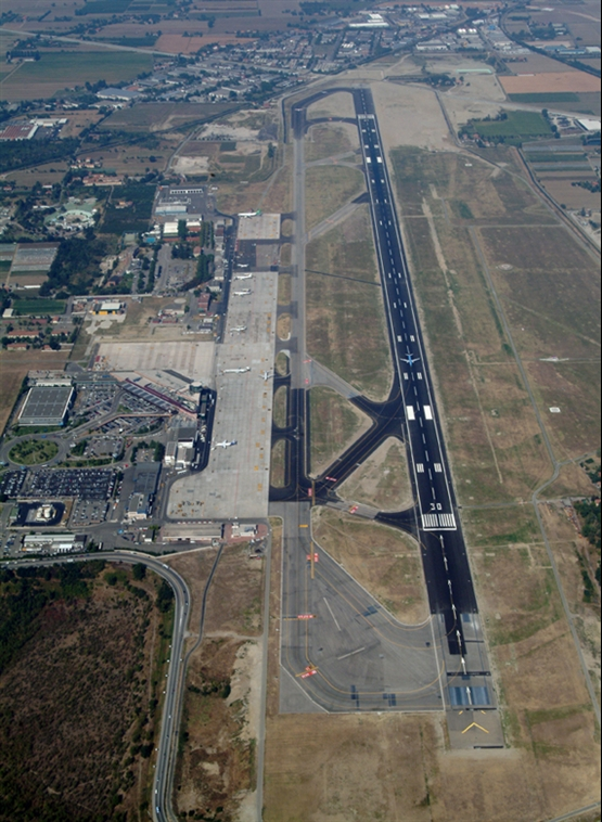 Aerial view of the Bologna Airport runway