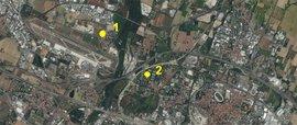 Vista aerea dell'area metropolitana di Bologna con indicata l'ubicazione delle centraline
