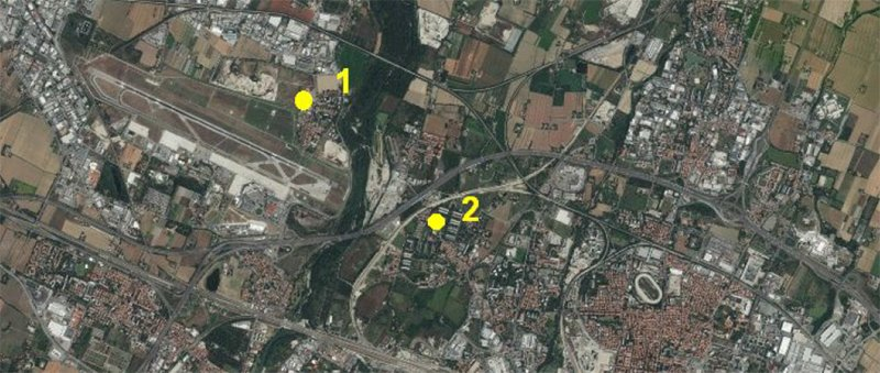 Aerial view of the Bologna metropolitan area with the location of the two fix stations