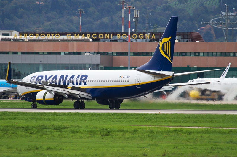 Ryanair plane on Bologna Airport runway